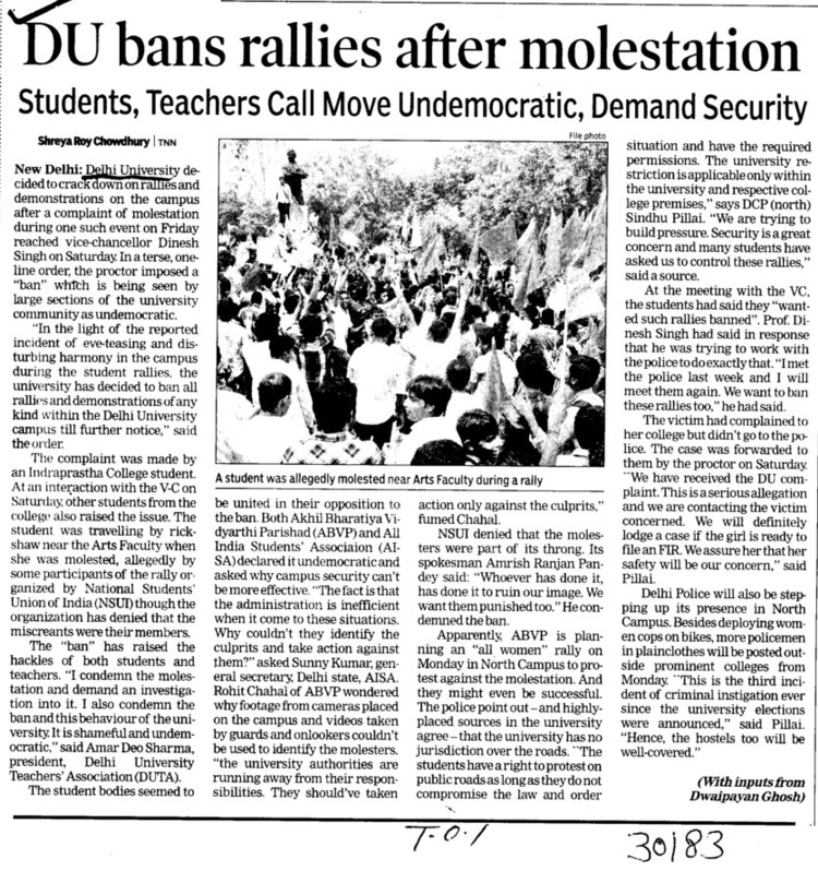 DU bans rallies after molestation (Delhi University)