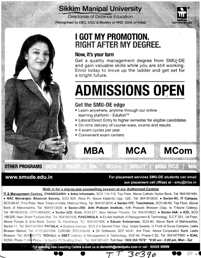 MBA, MCA and MCom Courses (Sikkim Manipal University of Health Medical and Technological Sciences)
