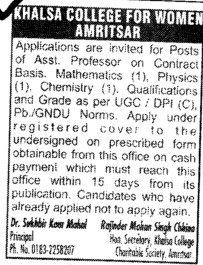 Asstt Professor on contract basis (Khalsa College for Women)