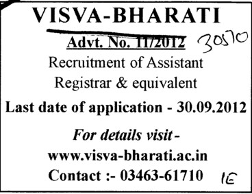 Asstt Registrar and Equivalent (Visva Bharati University)