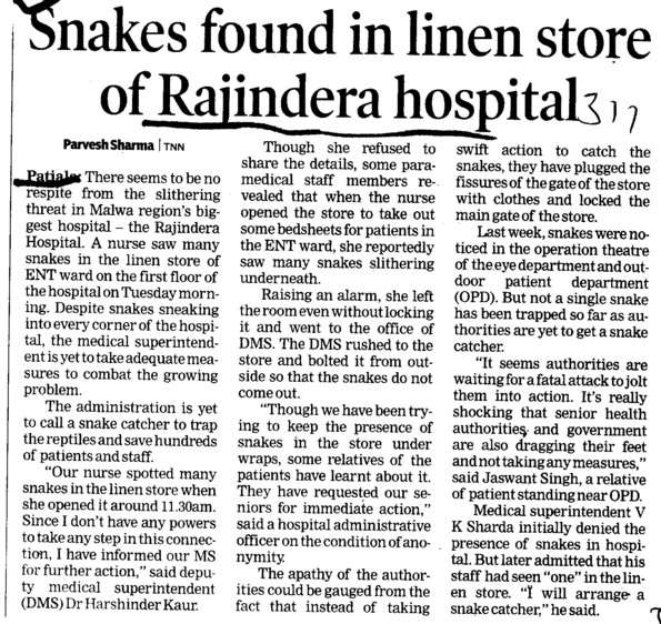 Snakes found in linen store of Rajindera Hospital (Government Medical College and Rajindra Hospital)