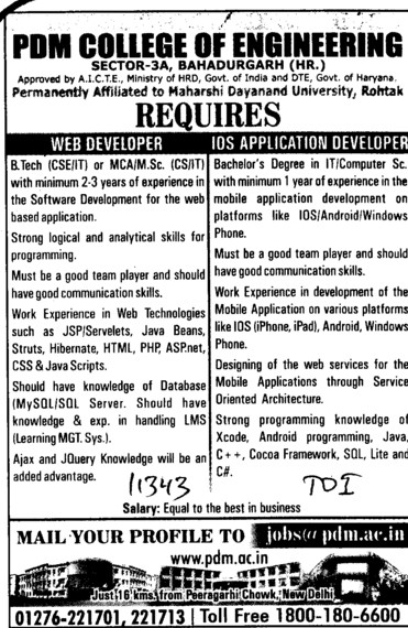 Web Developer and IOS Application Developer (PDM College of Engineering)