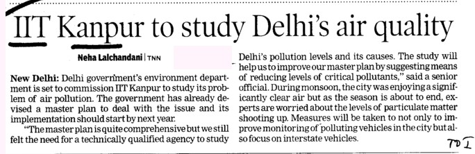 IIT Kanpur to study Delhis air quality (Indian Institute of Technology (IITK))