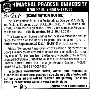 Examination Notice (Himachal Pradesh University)