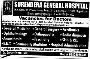 Doctors for various types (Surendera Group of Institutions)