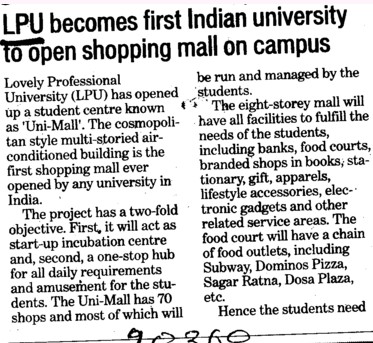 LPU becomes first indian university to open shopping mall on campus (Lovely Professional University LPU)
