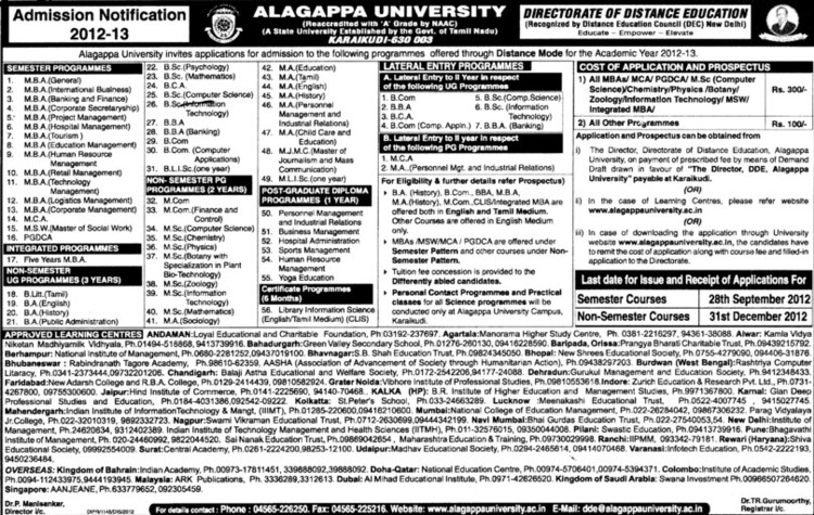 BBA, MBA, MSc and PGDCA Courses etc (Alagappa University)