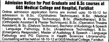 BSc in Radiotherapy and Dialysis Technician etc (Guru Gobind Singh Medical College)