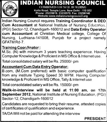 Accountant cum Data entry operator and Training Coordinator etc (Indian Nursing Council (INC))