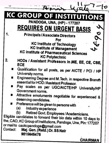 Principal and Associate Director (KC Group of Institutions)