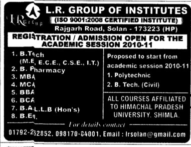 BTech, MBA, MCA and BCA Courses etc (LR Group of Institutions)