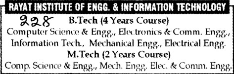 Btech and MTech Courses (Rayat Institute of Engineering and Information Technology)