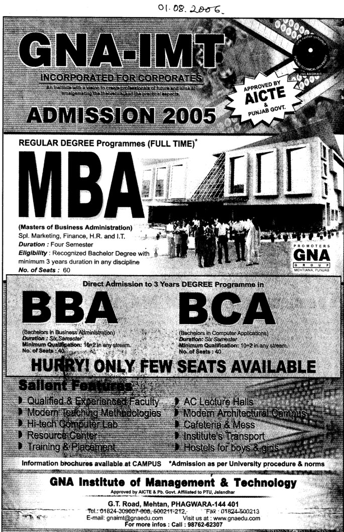 BBA, BCA and MBA Courses etc (GNA Institute of Management and Technology)