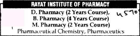 B Pharmacy, D Pharmacy and M Pharmacy Courses (Rayat Institute of Pharmacy)