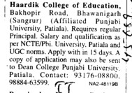 Principal on regular basis (Hardik College of Education)