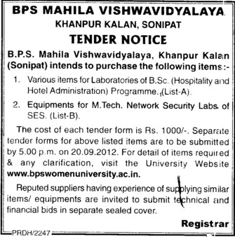 Various types of Laboratory Equipments (BPS Mahila Vishwavidyalaya Khanpur Kalan)
