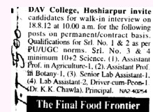Senior Lab Asstt and Driver Cum Peon etc (DAV College)
