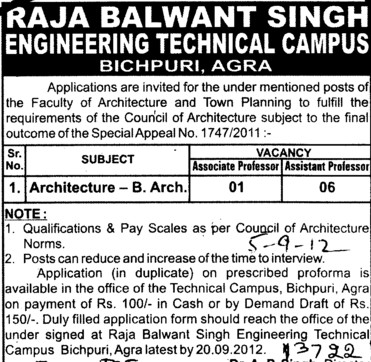 faculty for Architecture (RBS Engineering Technical Campus Bichpuri)
