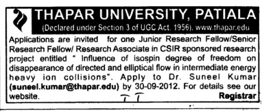SRF and Research Associate (Thapar University)