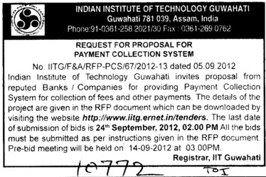 Request for Proposal for Payment Collection System (Indian Institute of Technology IIT)