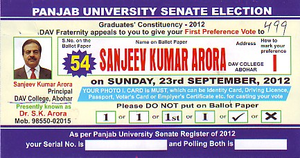 First Preference vote to Sanjeev Kumar Arora (DAV College)