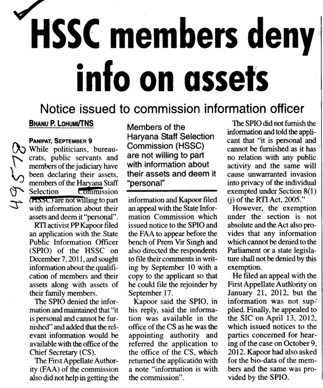 HSSC members deny info on assets (Haryana Staff Selection Commission (HSSC))