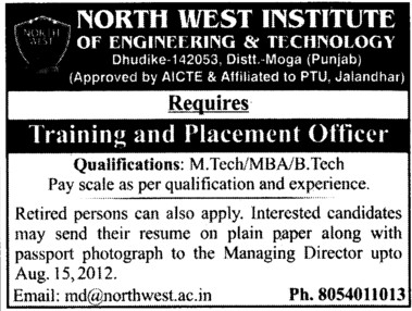 Training and Placement Officer (North West Institute of Engineering and Technology NWIET Moga)
