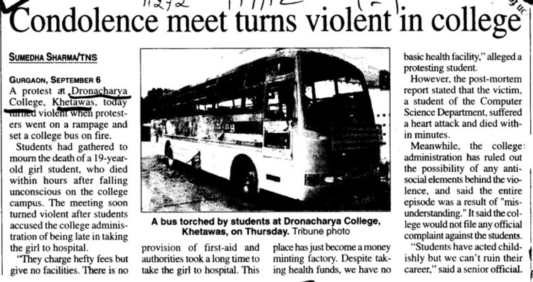 Condolence meet turns violent in COllege (Dronacharya College of Engineering (DCE))
