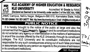 Public Notice regarding admission course (KLE University)
