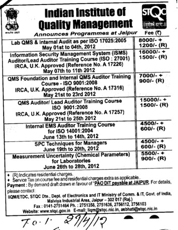 QMS Auditor Training Course and Lead Auditor Training Course etc (Indian Institute of Quality Management)