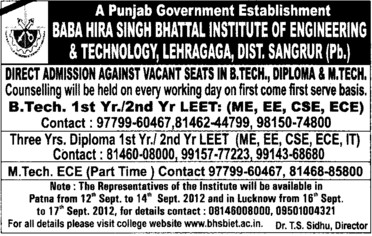 BTech through LEET (Baba Hira Singh Bhattal Institute of Engineering and Technology (BHSBIET))