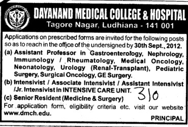Asstt Professor in Gastroenterlogy and Senior Resdent etc (Dayanand Medical College and Hospital DMC)
