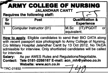 Computer Instructor (Army College of Nursing)