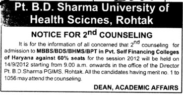 Notice for 2 nd Counseliing (Pt BD Sharma University of Health Sciences (BDSUHS))