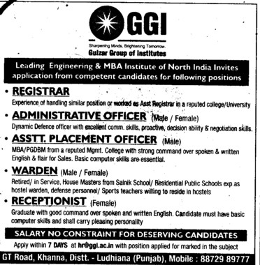Registrar, Warden and Receptionlist etc (Gulzar Group of Instituties Khanna)