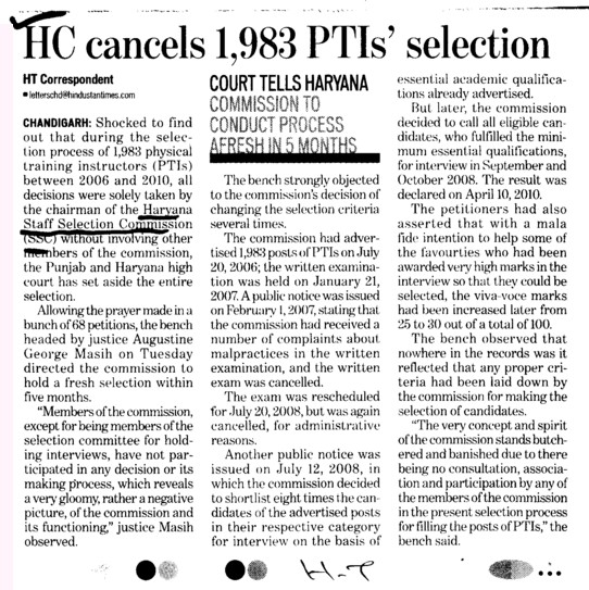 HC cancels 1983 PTIs selection (Haryana Staff Selection Commission (HSSC))