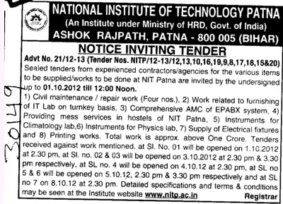 Civil Maintenance and Instruments for Physics Lab etc (National Institute of Technology NIT)