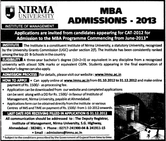 MBA Course 2012 (Nirma University)