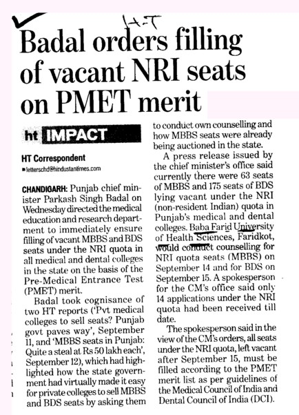 Badal orders filling of vacant NRI seats on PMET merit (Baba Farid University of Health Sciences (BFUHS))