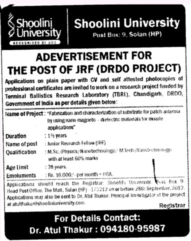 JRF (DRDO Project) (Shoolini University)