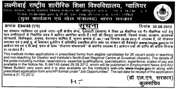 Teaching and Non teaching positions (Lakshmibai National University of Physical Education (LNUPE))