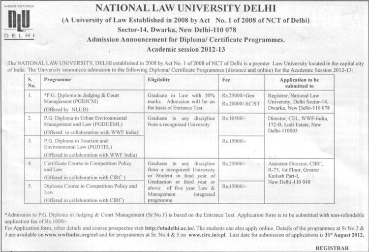 Diploma Course in Competition Policy etc (National Law University)