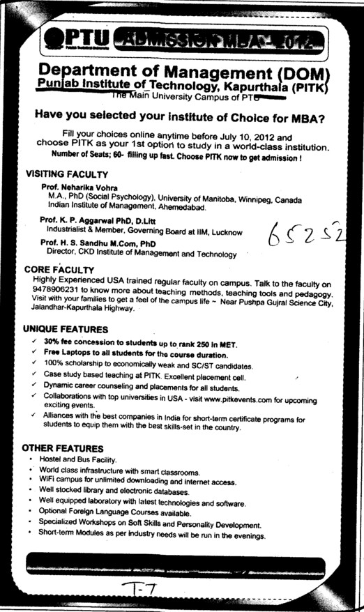 MBA Course 2012 (Punjab Institute of Technology (PIT-K) (PTU Campus))