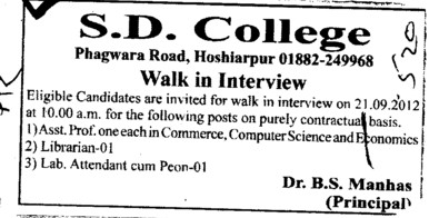 Asstt Professor, Librarian and Lab Attendent on contract basis (SD College)