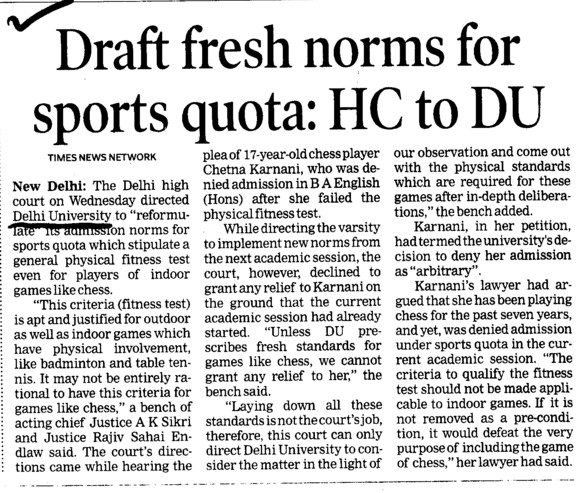 Draft fresh norms for sports quota, HC to Du (Delhi University)