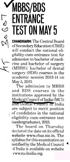 Entrance test on May 5 (Medical Council of India (MCI))