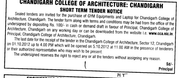 GYM Equipments (Chandigarh College of Architecture)