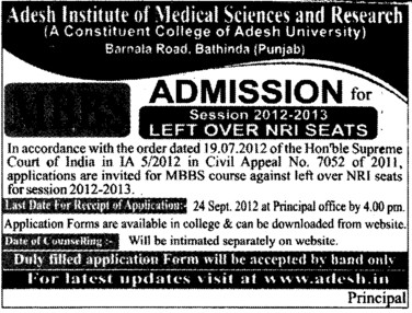 MBBS Course 2012 (Adesh Institute of Medical Sciences and Research)