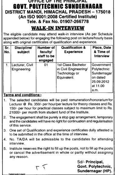 Lecturer in Civil Engg (Government Polytechnic College)