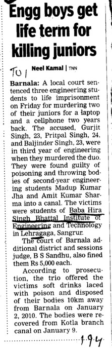 Engg boys get life term for killing juniors (Baba Hira Singh Bhattal Institute of Engineering and Technology (BHSBIET))